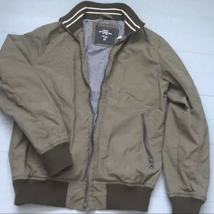 Size small army green bomber jacket w knit detail